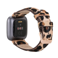 Full Grain Leather Band for Fitbit Versa 2 / Fitbit Versa 1 / Fitbit Versa Lite - FURRY LEOPARD PATTERNED - saracleather
