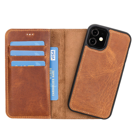 "Magic Magnetic Detachable Leather Wallet Case for iPhone 12 Mini (5.4"") - TAN - saracleather"