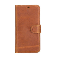 "Magic Magnetic Detachable Leather Wallet Case for iPhone 12 (6.1"") - TAN - saracleather"