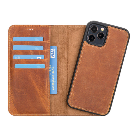 "Magic Magnetic Detachable Leather Wallet Case for iPhone 12 Pro (6.1"") - TAN - saracleather"