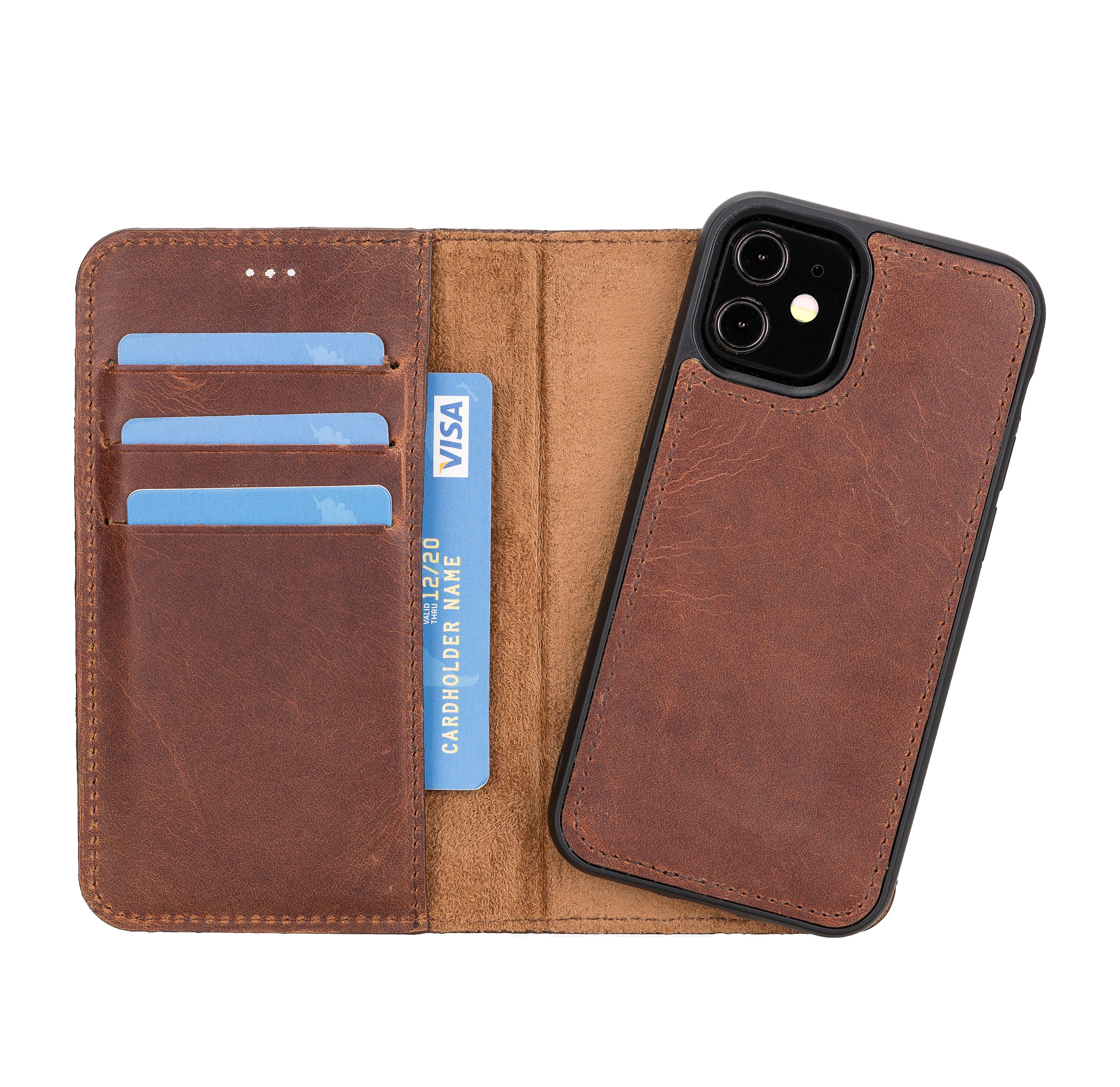 "Magic Magnetic Detachable Leather Wallet Case for iPhone 12 Mini (5.4"") - BROWN - saracleather"