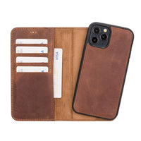"Magic Magnetic Detachable Leather Wallet Case for iPhone 12 Pro (6.1"") - BROWN - saracleather"