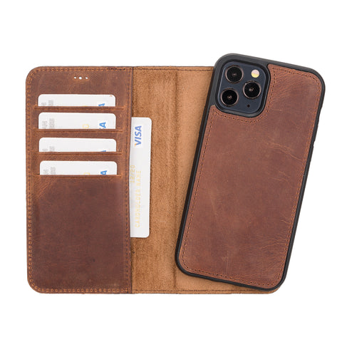 "Magic Magnetic Detachable Leather Wallet Case for iPhone 12 Pro (6.1"") - BROWN"