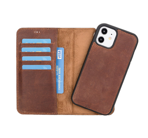 "Magic Magnetic Detachable Leather Wallet Case for iPhone 12 (6.1"") - BROWN - saracleather"