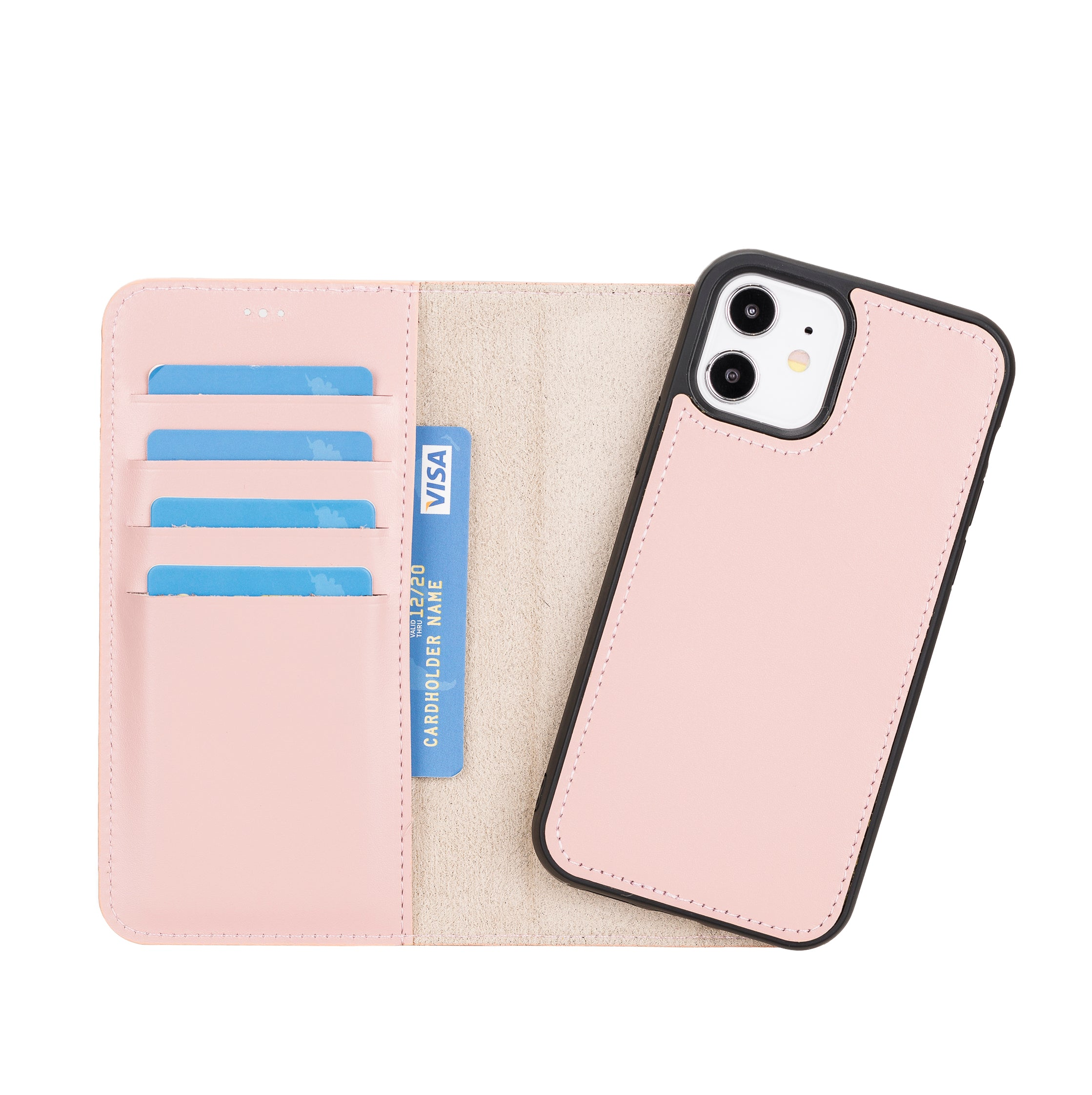 "Magic Magnetic Detachable Leather Wallet Case for iPhone 12 (6.1"") - PINK - saracleather"