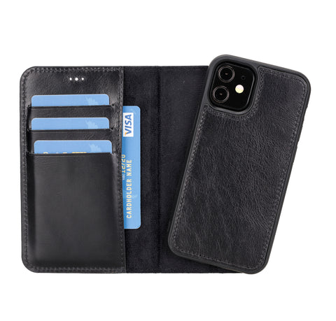 "Magic Magnetic Detachable Leather Wallet Case for iPhone 12 Mini (5.4"") - BLACK"