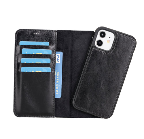 "Magic Magnetic Detachable Leather Wallet Case for iPhone 12 (6.1"") - BLACK - saracleather"