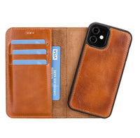 "Magic Magnetic Detachable Leather Wallet Case for iPhone 12 Mini (5.4"") - EFFECT BROWN - saracleather"