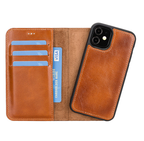 "Magic Magnetic Detachable Leather Wallet Case for iPhone 12 Mini (5.4"") - EFFECT BROWN"