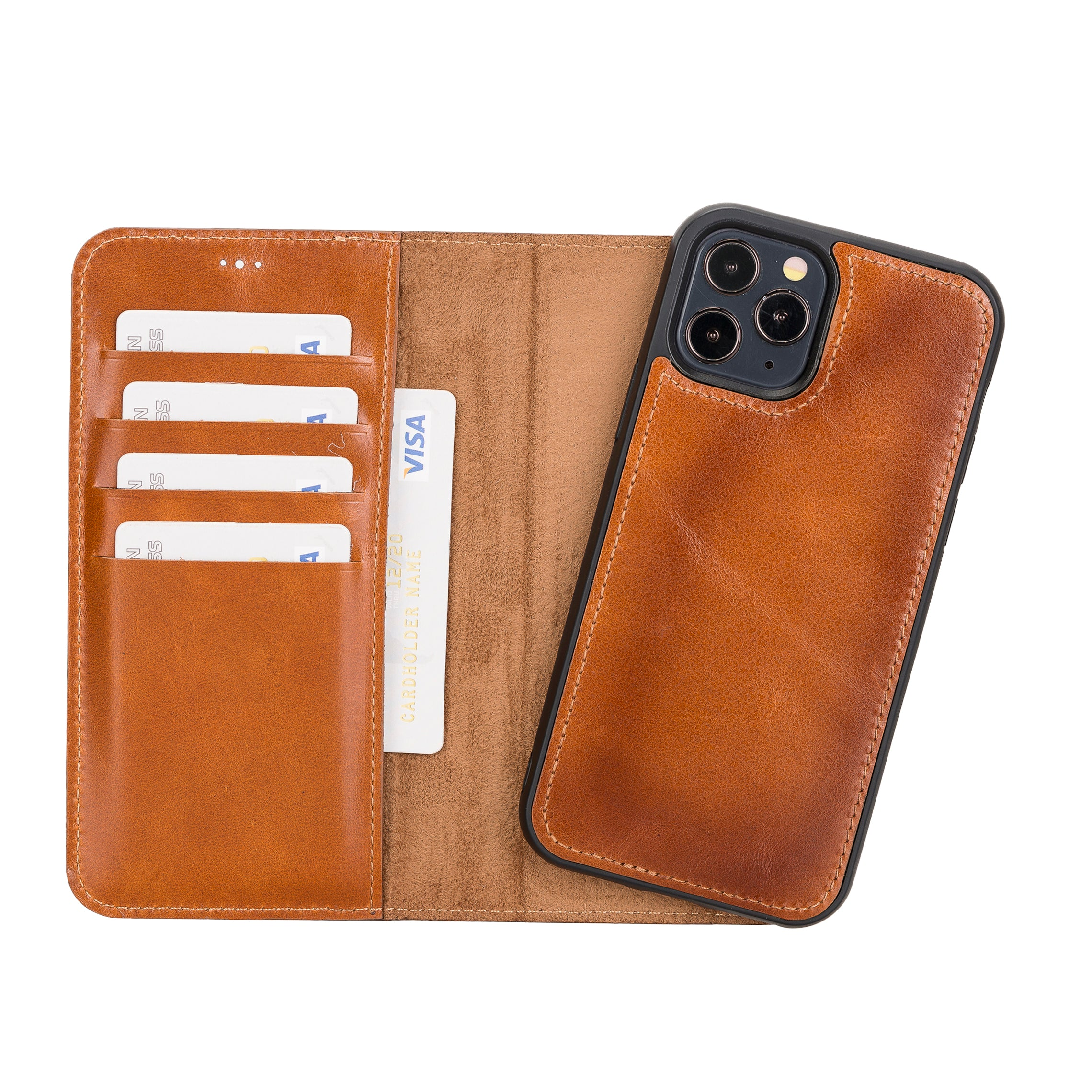 "Magic Magnetic Detachable Leather Wallet Case for iPhone 12 Pro (6.1"") - EFFECT BROWN - saracleather"