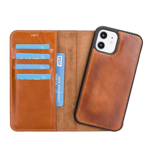 "Magic Magnetic Detachable Leather Wallet Case for iPhone 12 (6.1"") - EFFECT BROWN - saracleather"