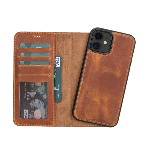 "Liluri Magnetic Detachable Leather Wallet Case for iPhone 12 (6.1"") - TAN - saracleather"