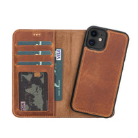 "Liluri Magnetic Detachable Leather Wallet Case for iPhone 12 Mini (5.4"") - TAN - saracleather"