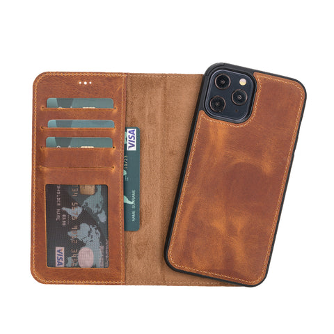 "Liluri Magnetic Detachable Leather Wallet Case for iPhone 12 Pro (6.1"") - TAN - saracleather"