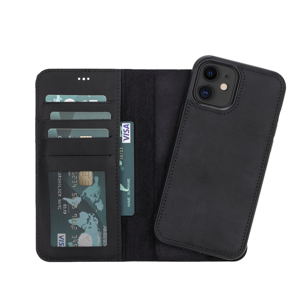 "Liluri Magnetic Detachable Leather Wallet Case for iPhone 12 (6.1"") - BLACK - saracleather"