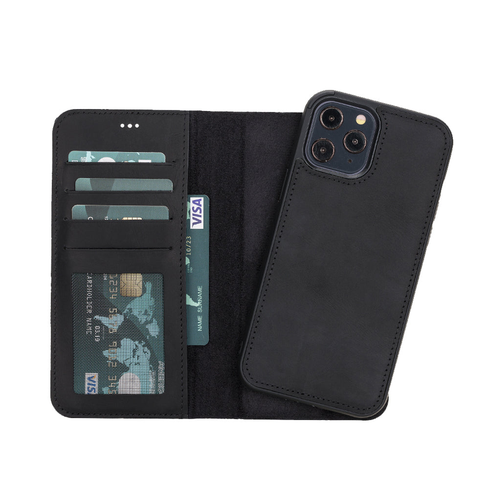 "Liluri Magnetic Detachable Leather Wallet Case for iPhone 12 Pro (6.1"") - BLACK - saracleather"