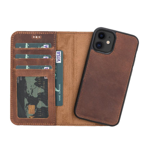 "Liluri Magnetic Detachable Leather Wallet Case for iPhone 12 Mini (5.4"") - BROWN - saracleather"