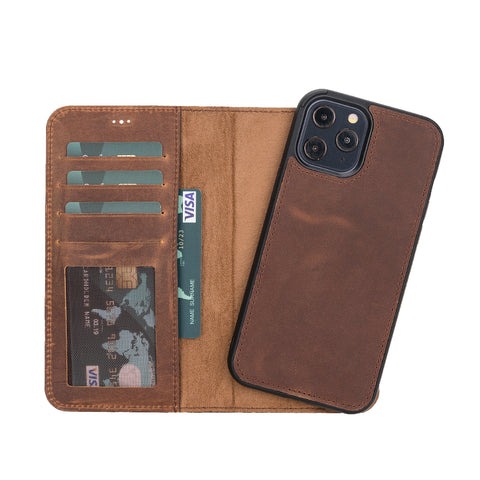 "Liluri Magnetic Detachable Leather Wallet Case for iPhone 12 Pro (6.1"") - BROWN - saracleather"