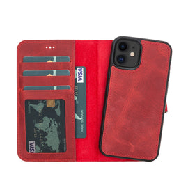 "Liluri Magnetic Detachable Leather Wallet Case for iPhone 12 Mini (5.4"") - RED - saracleather"