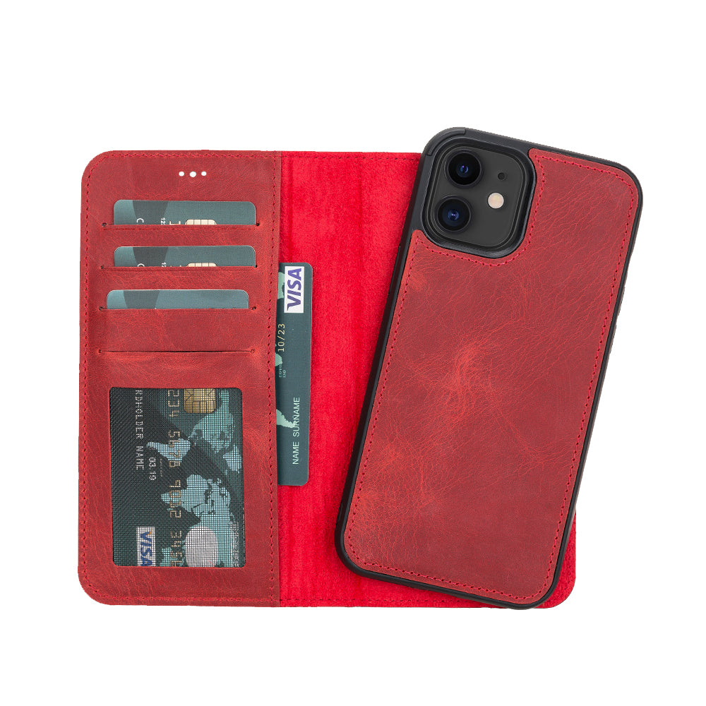 "Liluri Magnetic Detachable Leather Wallet Case for iPhone 12 (6.1"") - RED - saracleather"