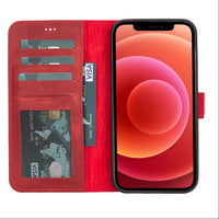 "Liluri Magnetic Detachable Leather Wallet Case for iPhone 12 Pro Max (6.7"") - RED - saracleather"