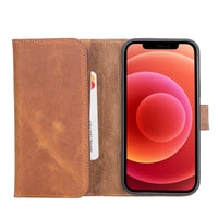 "Santa Magnetic Detachable Leather Wallet Case for iPhone 12 Pro (6.1"") - TAN - saracleather"