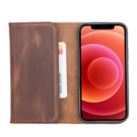 "Santa Magnetic Detachable Leather Wallet Case for iPhone 12 Pro Max (6.7"") - BROWN - saracleather"