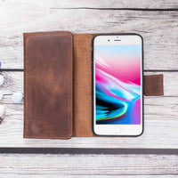 Santa Magnetic Detachable Leather Tri-Fold Wallet Case for iPhone 8 Plus / 7 Plus - BROWN - saracleather