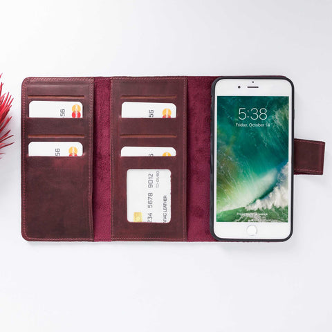 Santa Magnetic Detachable Leather Tri-Fold Wallet Case for iPhone 8 Plus / 7 Plus - RED - saracleather