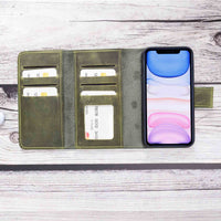 "Santa Magnetic Detachable Leather Tri-Fold Wallet Case for iPhone XR (6.1"") - GREEN - saracleather"