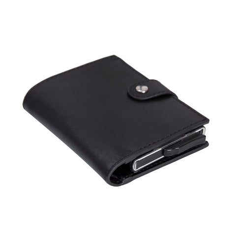 Palermo RFID Blocker Mechanism Pop Up Leather Wallet - BLACK - saracleather