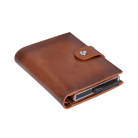Palermo RFID Blocker Mechanism Pop Up Leather Wallet - EFFECT BROWN - saracleather