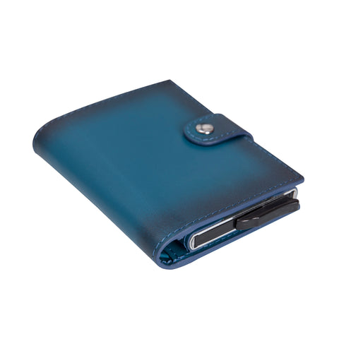 Palermo RFID Blocker Mechanism Pop Up Leather Wallet - BLUE - saracleather