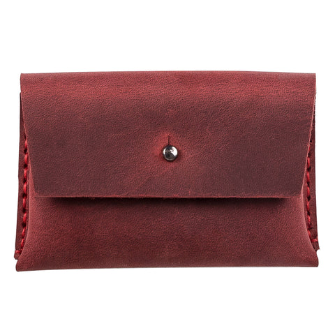 Dione Leather Business Card Holder - RED - saracleather