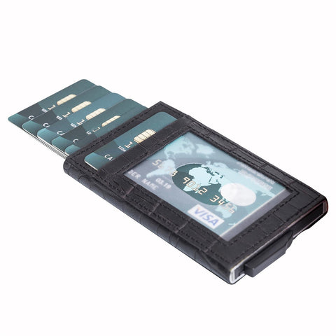 Fernando RFID Blocker Mechanism Leather Business / Credit Card Holder - BLACK - saracleather