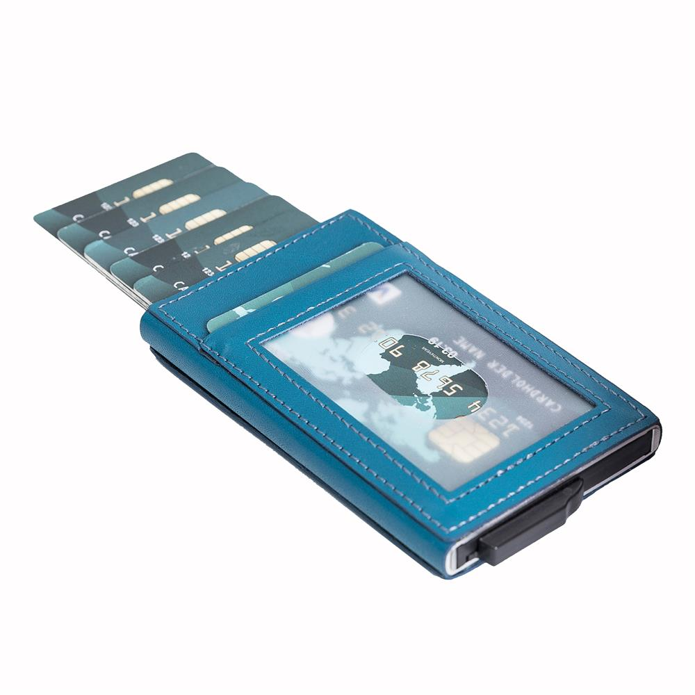 Fernando RFID Blocker Mechanism Leather Business / Credit Card Holder - BLUE - saracleather