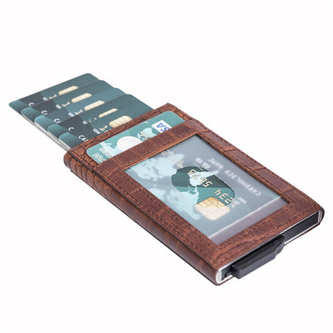 Fernando RFID Blocker Mechanism Pop Up Leather Business / Credit Card Holder - BROWN - saracleather