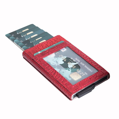 Fernando RFID Blocker Mechanism Leather Business / Credit Card Holder - RED - saracleather