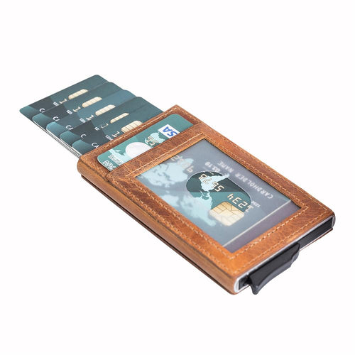 Fernando RFID Blocker Mechanism Leather Business / Credit Card Holder - TAN - saracleather