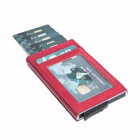 Fernando RFID Blocker Mechanism Pop Up Leather Business / Credit Card Holder - RED - saracleather