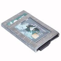 Fernando RFID Blocker Mechanism Pop Up Leather Business / Credit Card Holder - GRAY - saracleather