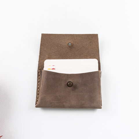 Dione Leather Business Card Holder - BROWN - saracleather