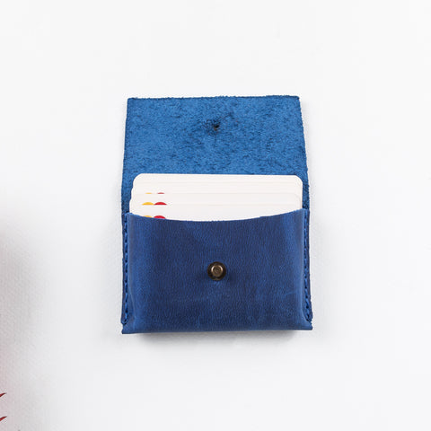 Dione Leather Business Card Holder - BLUE - saracleather