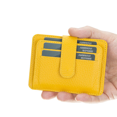 Adelao Leather Men's Bifold Wallet - YELLOW - saracleather