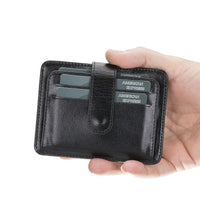 Adelao Leather Men's Bifold Wallet - BLACK - saracleather