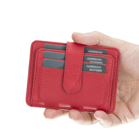Adelao Leather Men's Bifold Wallet - RED - saracleather