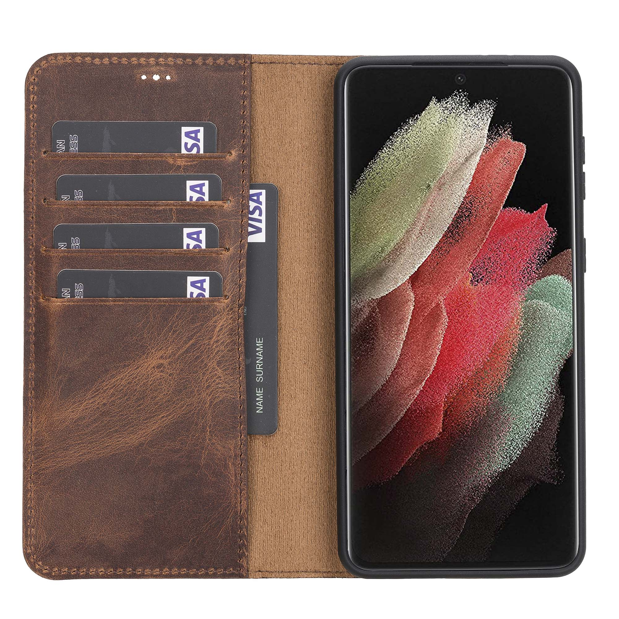 Magic Magnetic Detachable Leather Wallet Case for Samsung Galaxy S21 Plus 5G (6.7