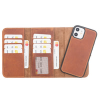 "Santa Magnetic Detachable Leather Wallet Case for iPhone 12 (6.1"") - TAN - saracleather"