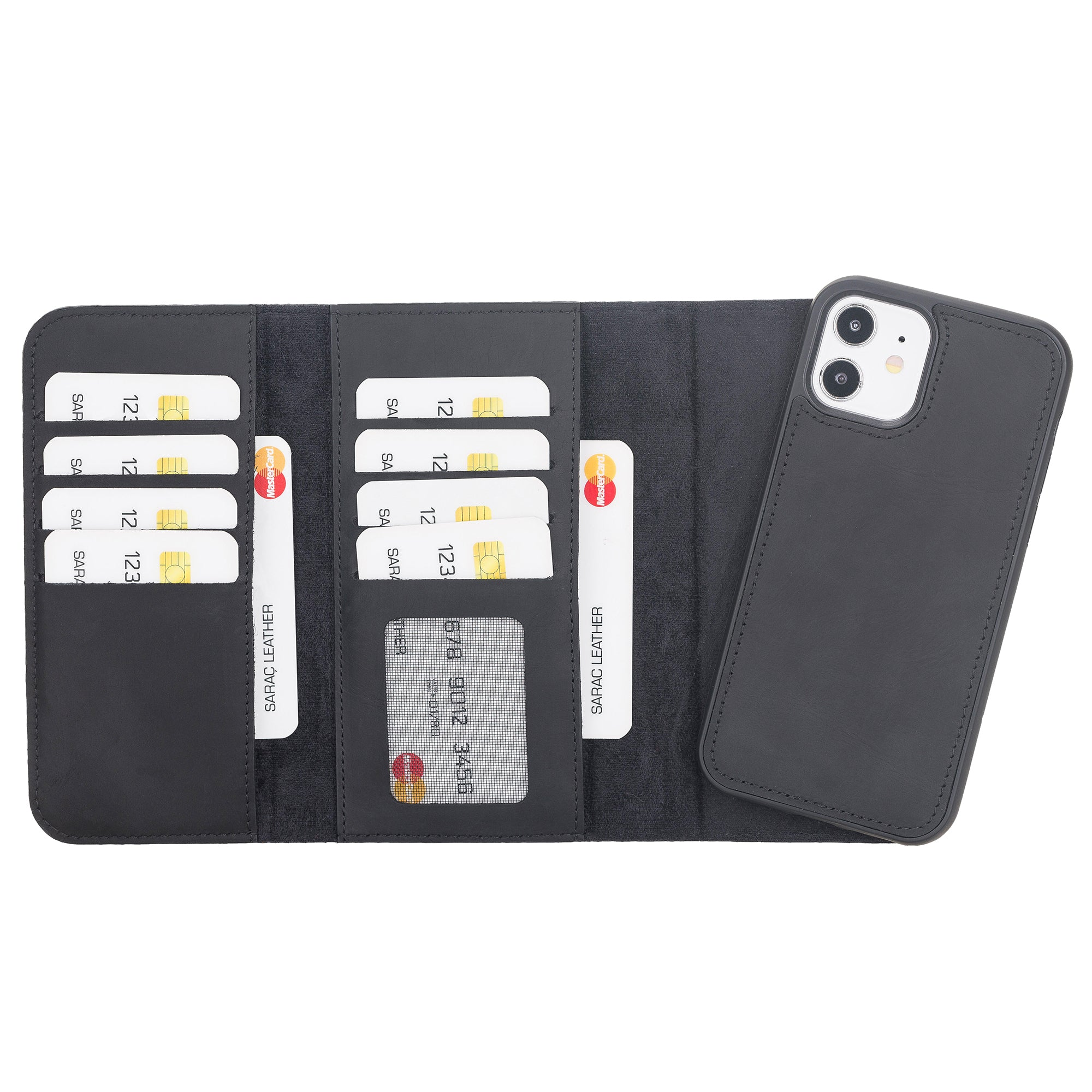 "Santa Magnetic Detachable Leather Wallet Case for iPhone 12 (6.1"") - BLACK - saracleather"
