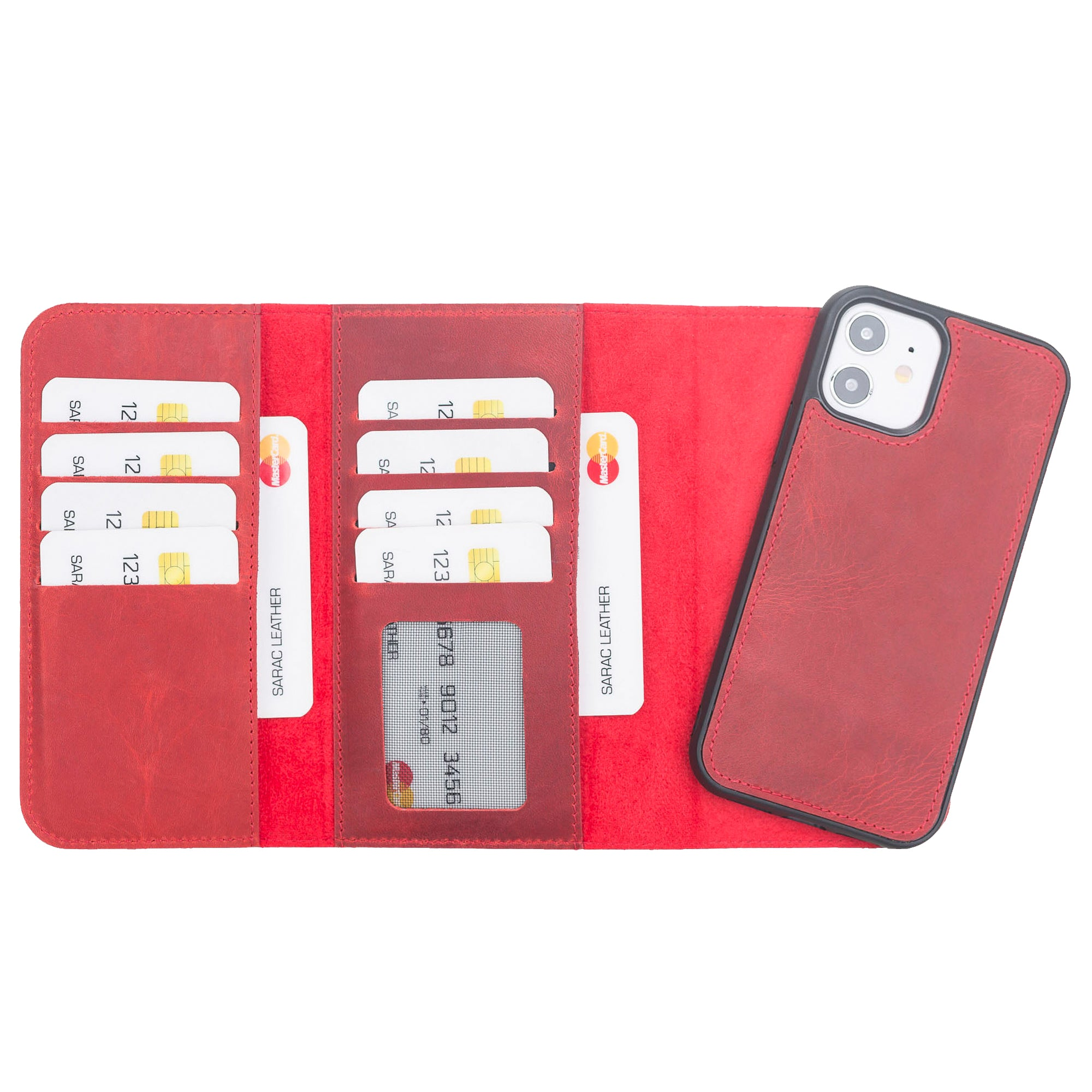 "Santa Magnetic Detachable Leather Wallet Case for iPhone 12 (6.1"") - RED - saracleather"